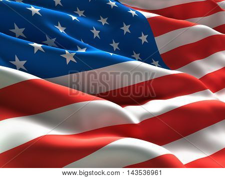 Flag of USA Waving in the Wind. CLose Up. 3d illustration