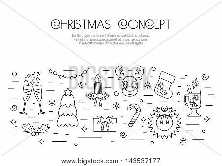 Christmas isolated concept with traditional attributes. Flat design from linear icons. Vector illustration
