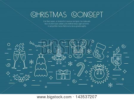 Christmas isolated white concept with traditional attributes. Flat design from linear icons. Vector illustration