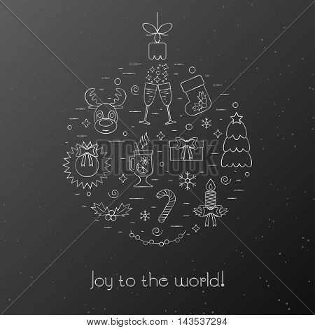 Black card with greetings for the Christmas and New Year. Decorated Christmas silver elements and attributes in a thin line for prints. Flat design. Vector illustration