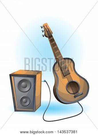 Cartoon Vector Illustration Guitar Object