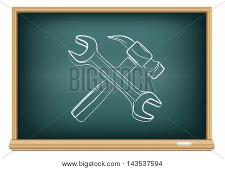 Hammer and wrench drawing on education blackboard on a white background