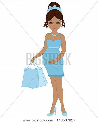 Vector African American pregnant woman with shopping bags in blue dress