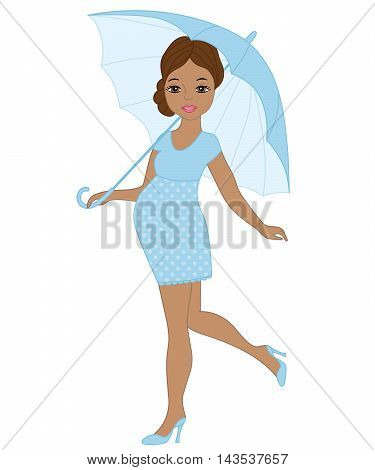 Vector African American pregnant woman with umbrella in blue dress