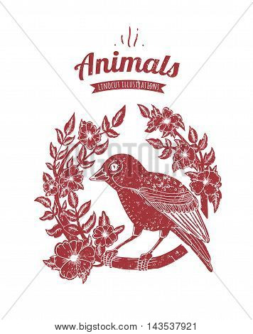 Vector illustration of linocut bird isolated on white background