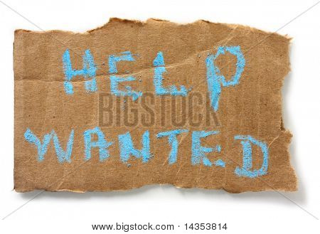 """Help Wanted"" chalked on torn cardboard sign, isolated on white with soft shadow."