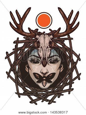 Trendy emblem with evil girl face, death's-head moths and deer skull. Vector Illustration