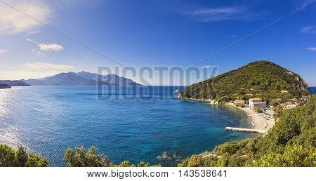 Elba island sea Portoferraio Enfola headland beach and Capanne mount. Livorno Tuscany Italy Europe