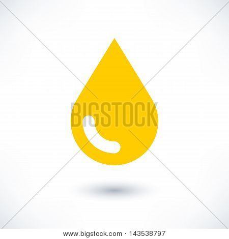 Yellow color drop icon with gray shadow on white background. Gold oil sign in simple solid plain flat style. This vector illustration graphic web design graphic element saved in 8 eps