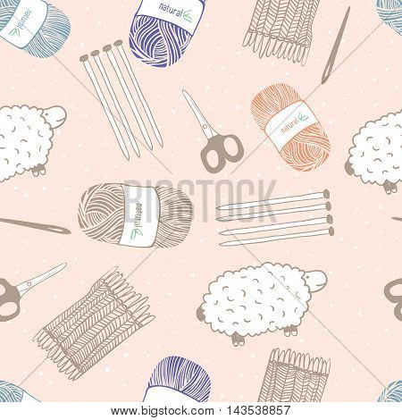 Seamless cute pattern . Handmade. Knitting. Sheep , scissors , thread , needles . Vector.