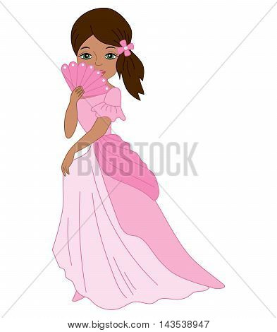 Vector African American princess with fan in pink dress