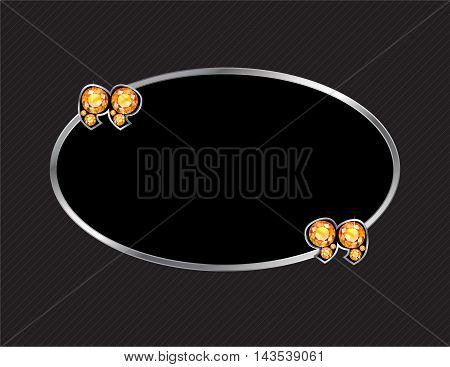 Citrine Stone Quotes on Silver Metal Speech Bubble over Pinstripe Background