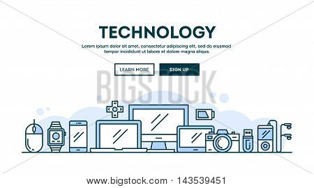 Technology concept header flat design thin line style vector illustration