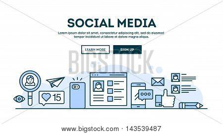 Social media concept header flat design thin line style vector illustration