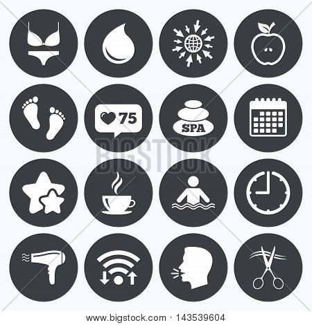 Calendar, wifi and clock symbols. Like counter, stars symbols. Spa, hairdressing icons. Swimming pool sign. Lingerie, scissors and hairdryer symbols. Talking head, go to web symbols. Vector