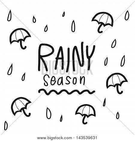 Rainy season word and umbrella illustration on white background