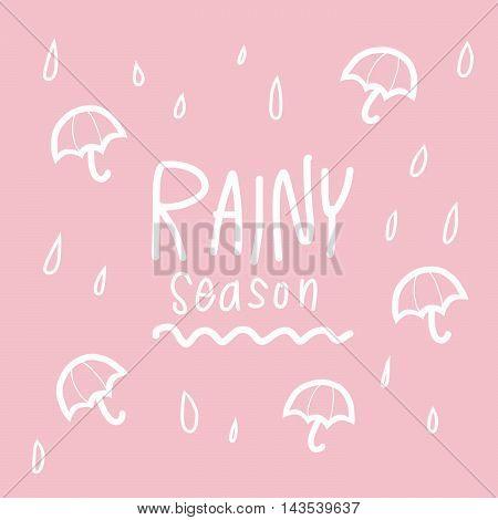 Rainy season word and umbrella illustration on pink background