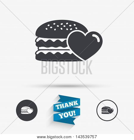 Hamburger icon. Burger food symbol. Cheeseburger sandwich sign. Flat icons. Buttons with icons. Thank you ribbon. Vector