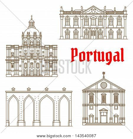 Portuguese tourist attractions of Lisbon thin line symbol with historic Aqueduct of the Free Waters, Church of Saint Roch, rococo Palace of Queluz and Church of Santa Engracia. European travel design