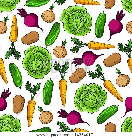 Green cabbage and cucumber, sweet carrot and beet, ripe onion and potato vegetables seamless pattern over white background. Agriculture and farm market themes design