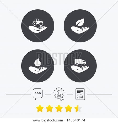 Helping hands icons. Agricultural tractor insurance symbol. Delivery truck sign. Save nature leaf and water drop. Chat, award medal and report linear icons. Star vote ranking. Vector