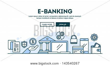 E-banking concept header flat design thin line style vector illustration