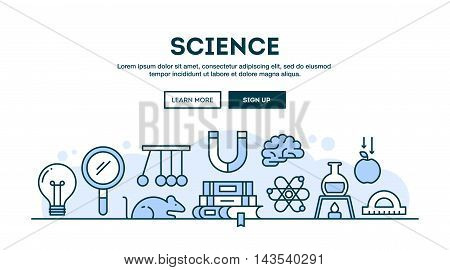 Science concept header flat design thin line style vector illustration