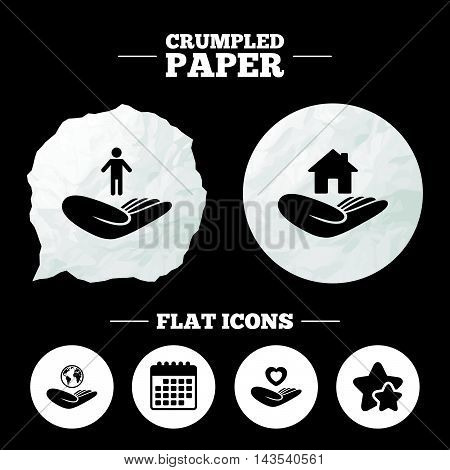 Crumpled paper speech bubble. Helping hands icons. Heart health and travel trip insurance symbols. Home house or real estate sign. Paper button. Vector