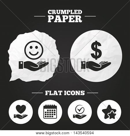 Crumpled paper speech bubble. Smile and hand icon. Heart and Tick or Check symbol. Palm holds Dollar currency sign. Paper button. Vector