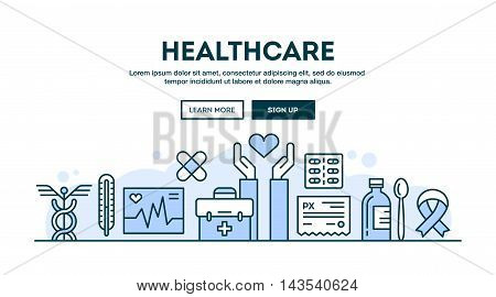 Healthcare concept header flat design thin line style vector illustration