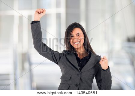 Very happy young woman portrait