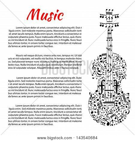 Classic music poster with violin silhouette created of musical notes, treble and bass clefs with strings in a shape of stave, tuning pegs as rests and sound posts as forte symbols. Music theme design