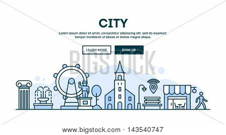 City concept header flat design thin line style vector illustration