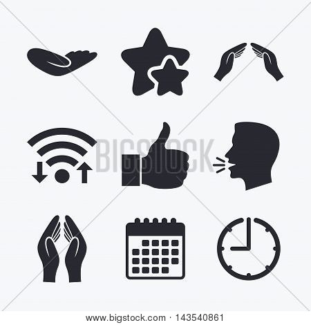 Hand icons. Like thumb up symbol. Insurance protection sign. Human helping donation hand. Prayer hands. Wifi internet, favorite stars, calendar and clock. Talking head. Vector