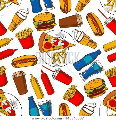 Fast food lunch background with seamless pattern of cheeseburger, hot dog, pizza, bottle and takeaway cup of soda, french fries, coffee cup, ice cream, ketchup and mustard sauce