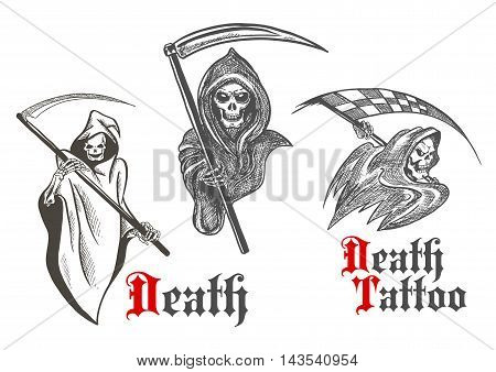Horrifying grim reapers vintage sketch characters of deathful skeletons wearing hooded coats with scythes in bony hands. Great for death symbol, motorsport mascot or tattoo design