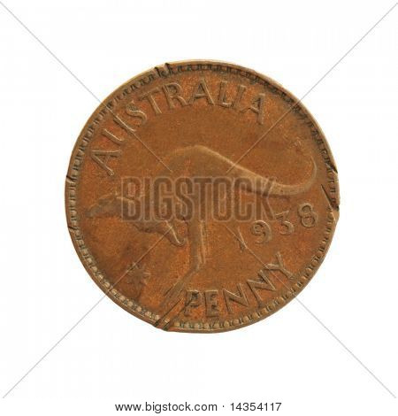 Old Australian penny, isolated on white.  Looks like it's been through a lawn mower!