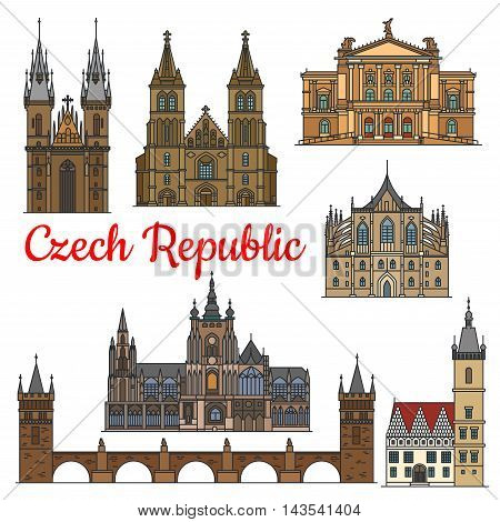Travel landmarks of Czech Republic icon with linear Charles Bridge, Church of Mother of God, Saint Vitus Cathedral, Opera House, New Town Hall, Cathedral of Saints Peter and Paul, Saint Barbara Church