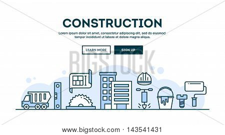 Construction concept header flat design thin line style vector illustration