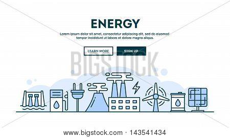 Energy concept header flat design thin line style vector illustration