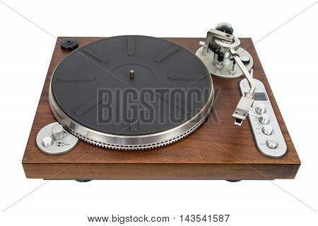 Old vinyl player isolated on white background with clipping path