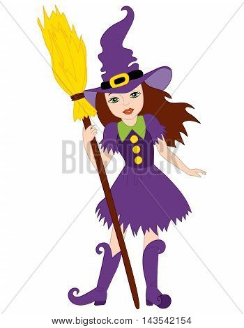 Vector witch in purple dress with broomstick