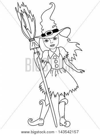 Vector black and white witch with broomstick