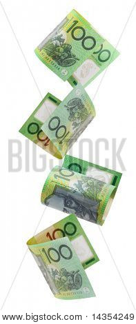 Australian one hundred dollar notes cascading down.  Isolated on white.