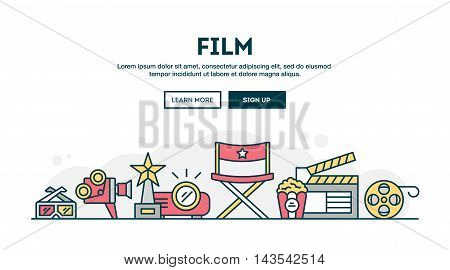 Film colorful concept header flat design thin line style vector illustration