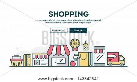 Online shopping colorful concept header flat design thin line style vector illustration