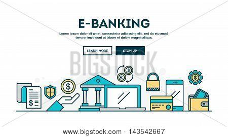 E-banking colorful concept header flat design thin line style vector illustration