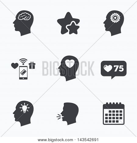 Head with brain and idea lamp bulb icons. Male human think symbols. Cogwheel gears signs. Love heart. Flat talking head, calendar icons. Stars, like counter icons. Vector