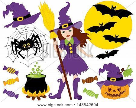 Vector witch with broomstick spider bats moon sweets and pumpkin