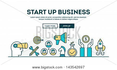 Start up business colorful concept header flat design thin line style vector illustration